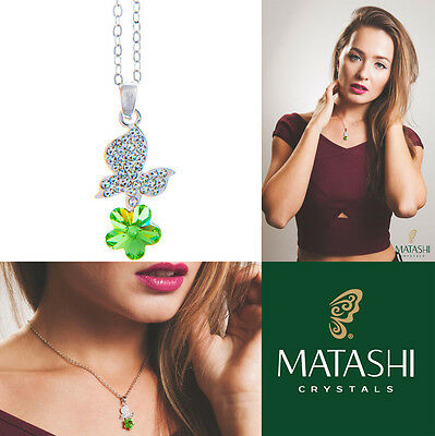 """16"""" Rhodium Plated Necklace w/ Butterfly, Flower & Green Crystals by Matashi"""
