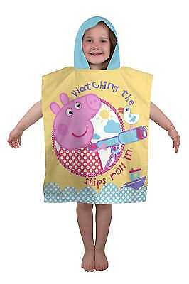 Peppa Pig Nautical Poncho Kids Character Hooded Bath Beach Towel