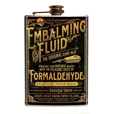 Theatre Bizarre Embalming Fluid Stainless Steel Flask Party Carnival Funhouse