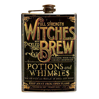 Theatre Bizarre Witches Brew Stainless Steel Flask Retro Carnival Funhouse Party