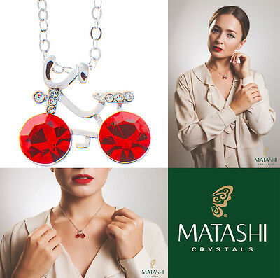 """16"""" Rhodium Plated Necklace w/ Bicycle & Red Crystals by Matashi"""