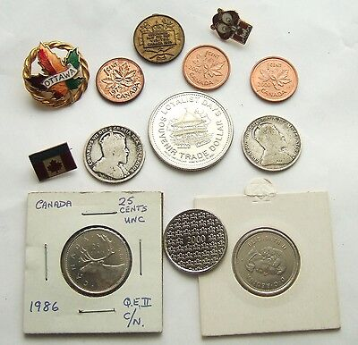 Canada Lot Of Coins, Medals & Badges - Includes 2 Silver Coins : 13 Pieces Total