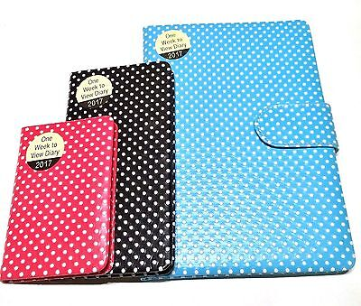 Retro Polka Dot Week to View 2017 Diary - Soft Touch in Pocket, Slim or A5 Size