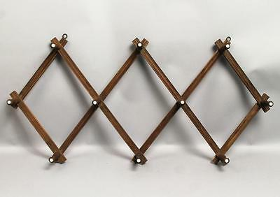 Antique 1870s/80s Victorian Walnut Accordion Style Hat Rack Wall Hanger