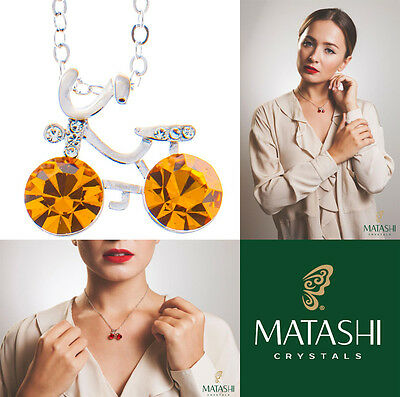 """16"""" Rhodium Plated Necklace w/ Bicycle & Yellow Crystals by Matashi"""
