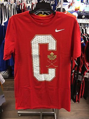 2017 World Juniors Championship Team Canada Big C Red Cotton IIHF T Shirt Medium