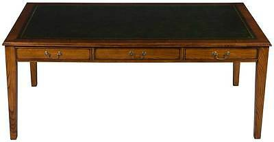 New Antique Style Large Writing Desk Library Table Leather Top w Drawers Oak