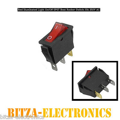 Red Illuminated Light On/Off SPST Boat Rocker Switch 15A 250V AC