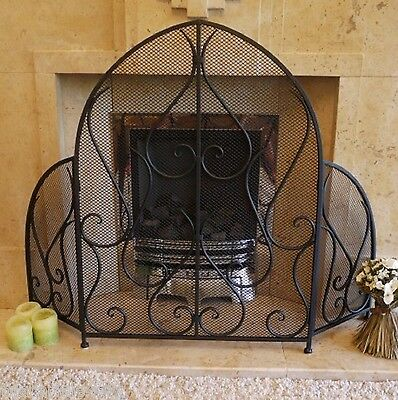 SomerFire Arch Wrought Iron Style Black Fireplace Fire Screen Guard