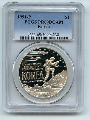 1991 P $1 Korean War Silver Commemorative Dollar PCGS PR69DCAM