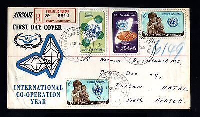 14376-PAPUA & NEW GUINEA-FIRST DAY AIRMAIL REGIST.COVER P.MORESBY to NATAL.1965
