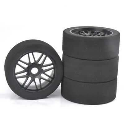 4Pcs Pre-glued Foam Tires & Nylon Wheel 17mm Hex For R/C 1:8 Racing Car Model
