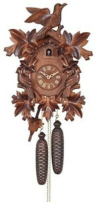 NEW Eight Day Cuckoo Clock with Three Hand Carved Birds and Seven Leaves  833-16