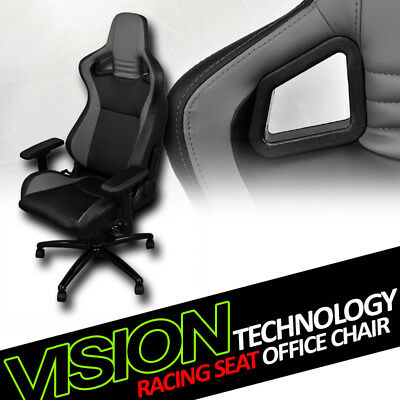 Blk/Grey With Stitches PVC Leather Mu Racing Bucket Seat Game Office Chair Vt10