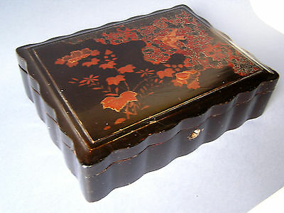 Antique Black Lacquer Japanese Games Box 1920