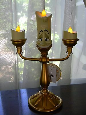 "Disney Parks Beauty & the Beast LUMIERE Light Up Candlestick 10"" Figurine NEW"