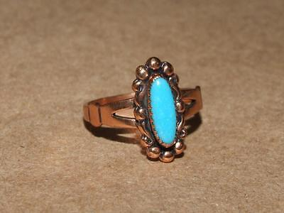 Vintage Navajo Beaded Oval Copper Ring w/ Faux Turquoise Lucite Marked WM s 7.5