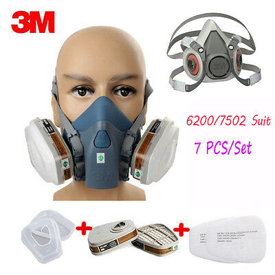 7 in 1 Set Respirator Painting Spraying Half Face Gas Mask For 3M 7502 6200 WZ2