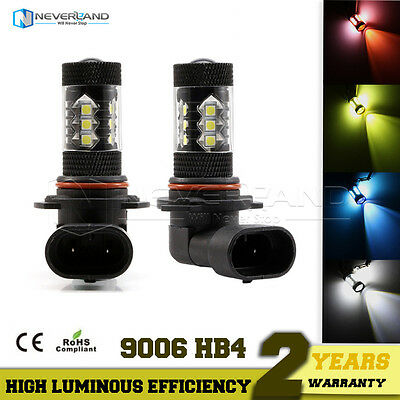 9006 HB4 80W LED Fog Tail Light Bulbs Car Driving Lamp DRL 4 Colors Changed
