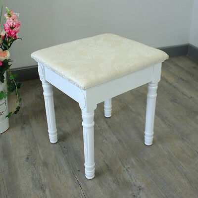 White Padded Dressing Table Stool Shabby French Chic Girls Bedroom Make Up Seat