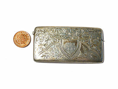 Antique 1909 Sterling Silver Card Case Carved Decoration Gilt Interior