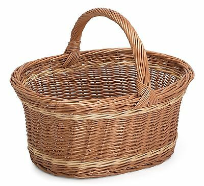 Prestige Wicker Willow Basket with Handle Natural 55 x 40 x 40 cm Large NEW