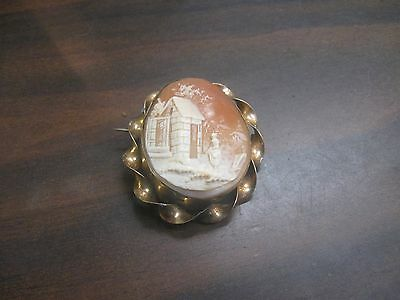 Victorian Yellow Gold Hand Carved Shell Large Cameo Village Scene Pin Brooch WOW