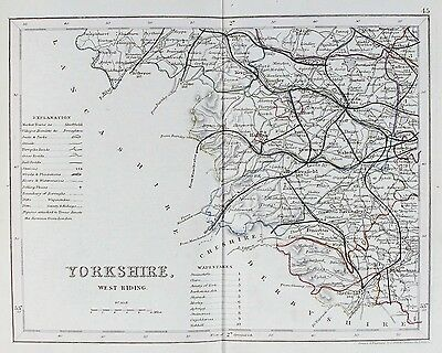 OLD ANTIQUE MAP YORKSHIRE WEST RIDING c1840's by J ARCHER ORIGINAL HAND COLOUR