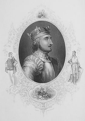 OLD ANTIQUE PRINT KING STEPHEN OF ENGLAND PORTRAIT c1850's ENGRAVING by VIRTUE