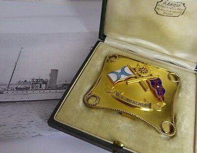 SUPERB 1920's NYYC STEAM YACHT THALASSA ENAMELLED GOLD BELT BUCKLE BY A. LEROY