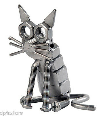 Hand Crafted Recycled Metal Cat  Art Sculpture Figurine