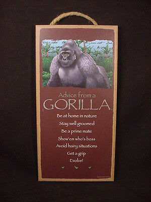 ADVICE FROM A GORILLA wood INSPIRATIONAL SIGN wall NOVELTY PLAQUE Ape Monkey NEW