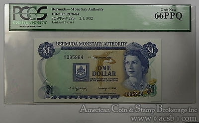 Bermuda $1 Dollar MS66 PPQ PCGS 1978-84 SCWPM#28b 2 1 1982 2nd FINEST Ultra Gem