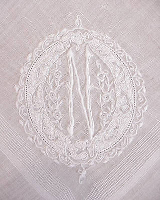 Vintage Antique White Hand Embroidered Handkerchief Hanky Monogram N Wedding