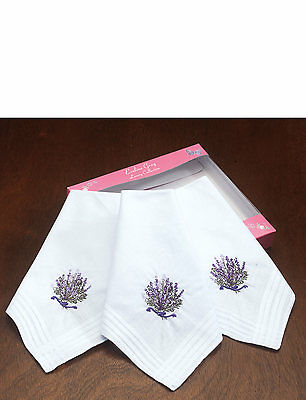 3 Pack Of  Ladies Heather Embroidered Handkerchiefs x 2