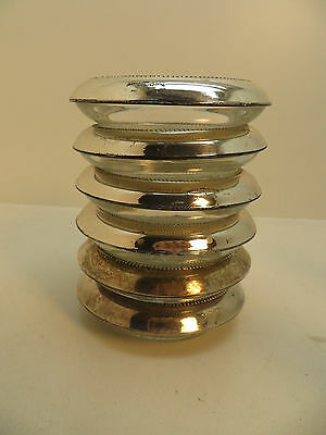 Frank Whiting Sterling Silver & Crystal/Glass Coasters Wine Bottle 6 Matched Pie