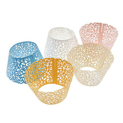 50 Pcs Cupcake Wrappers Filigree Vine Lace Cup  Wrap Liners Wedding Party Decor
