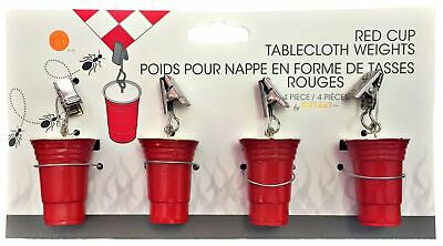 Fox Run Outset Red Cup Decorative Outdoor Picnic Tablecloth Weights, Set Of 4