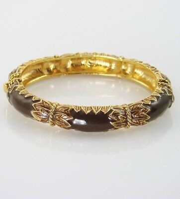 Lovely Vintage Gold Tone Byzantine Hinged Oval Bangle w Chocolate BROWN Glass