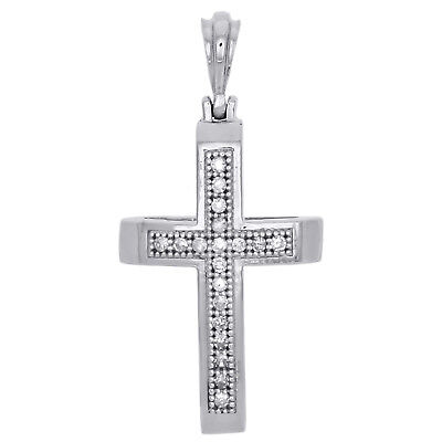 Ladies 925 Sterling Silver Jesus Cross Diamond Pendant Charm For Necklace .05 Ct