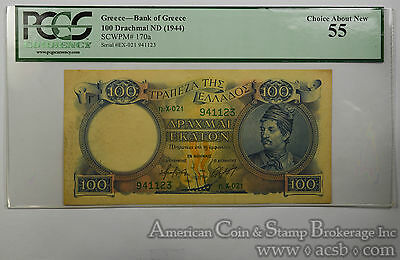 Greece 100 Drachmai AU55 PCGS 1944 SCWPM#170a Bank of Greece Scarce Denom