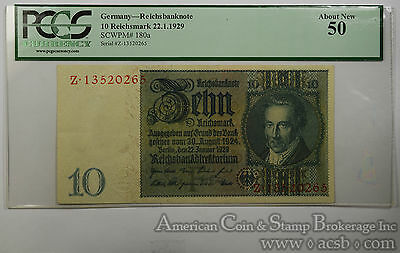 Germany 10 Reichsmark AU50 PCGS 22.1.1929 SCWPM#180a Reichsbanknote Choice