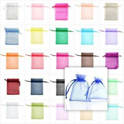 25/50/100/200pcs Organza gift Bags Wedding Candy Favour Jewelry Ring Pouch 9cm
