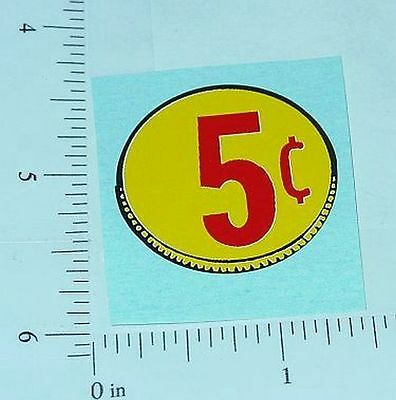 Three (3) Generic 5 Cent Coin Vend Stickers     V-16-5
