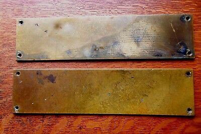 Two Antique Victorian Cast Brass Craftsman Door Plate Finger Push Plates c1900