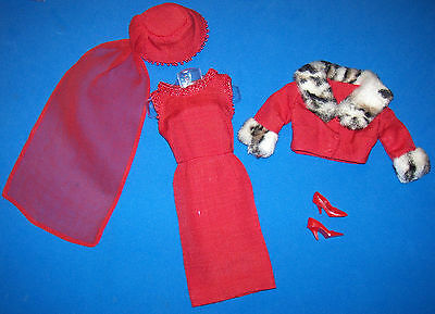 Vintage Barbie #1640 Complete Matinee Fashion Red Pillbox Hat & Red High Heels