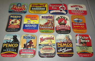 Lot of 14 Old 1940's SARDINE Can LABELS - West Pembroke Maine