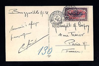 14458-FRENCH CONGO-POSTCARD BRAZZAVILLE to PARIS(france)1931.French colonies.AEF