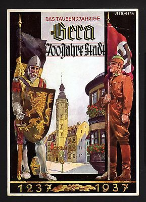 14471-GERMAN EMPIRE-Postcard GERA State.700 Years.1937.WWII.DEUTSCHES III REICH.