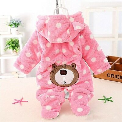 Newborn Infant Baby Boy Girl Outfit Romper Jumpsuit Bodysuit Hooded Clothes 3-18